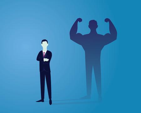 ベクトルの図。ビジネス力の概念。実業家は彼の内部の強さを示す自分の筋肉の影の前に立っています。自信。将来の目標。自己開発