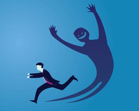 Uomo d'affari scappare dalla paura della sua ombra di mostri interni del male