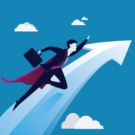 Vector illustration. Business success concept. Super Businessman flying high reach point on top of the success arrow chart