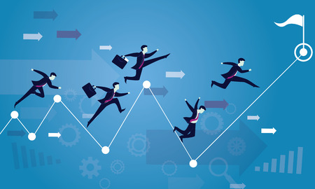 Vector illustration. Business competition concept. Businessmen running forward for racing on success arrow. Sprint hard to win the race on victory finish point