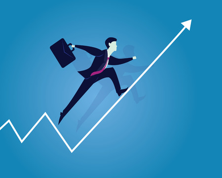 Vector illustration. Business success concept. Businessman running up on raised arrow to reach success