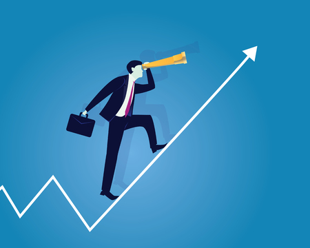 wealth management: Vector illustration. Business Vision Success Concept. Businessman holding working bag and looking trough telescope while standing on raised up success arrow