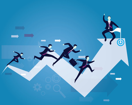 run way: Vector illustration. Business competition concept. Businessmen running forward for racing on success arrow. One leader looked happy to win the race on victory finish point