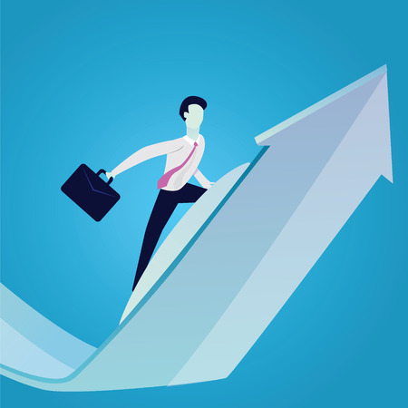 Vector illustration. Business Success Concept. Businessman holding working bag while surfing on raised up success arrow