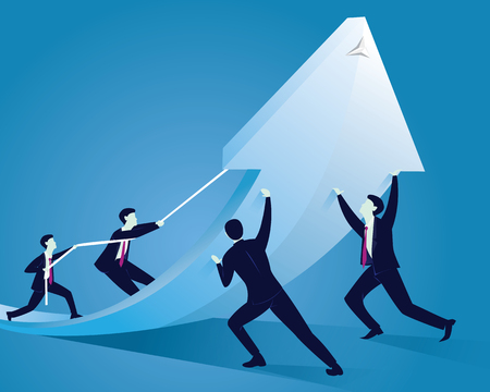 Vector illustration. Business Team Work Concept. Businessmen working together to change direction of an arrow. Raising up arrow to reach success together