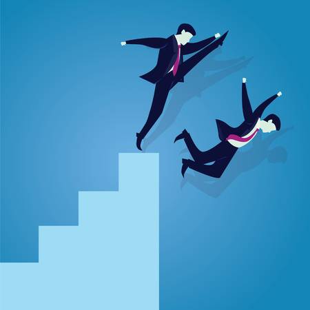 Vector illustration. Bad business competition concept. A businessman kicking to make his rival falling down from the top ladder of success Illustration
