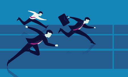 Vector illustration. Business competition concept. Businessmen sprint racing forward to winning success on running track. Illustration