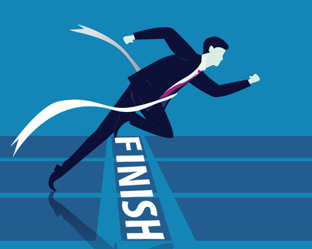 Vector illustration. Business success concept. Businessman sprinting on running track and crossing finish line.