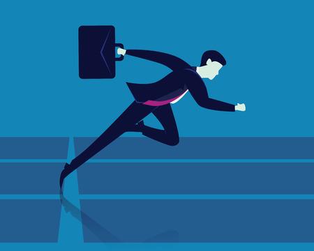 Vector illustration. Businessman holding working bag while sprinting on running track Illustration