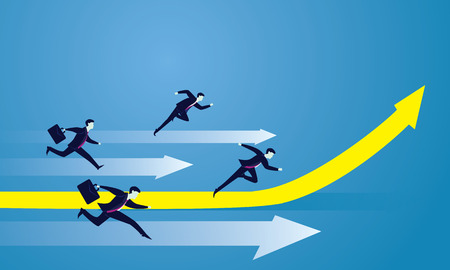 run way: Vector illustration. Business competition concept. Businessmen racing forward to success on running track. One leader on highlighted up arrow
