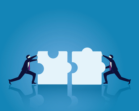 Vector illustration. Team work business concept. Two businessman working on to match puzzle. Pushing to connecting puzzles together.