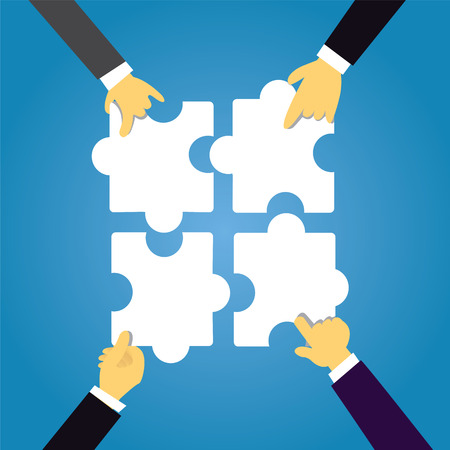 Top view vector illustration. Team Work Concept. Businessmen hands connecting puzzles together Illustration