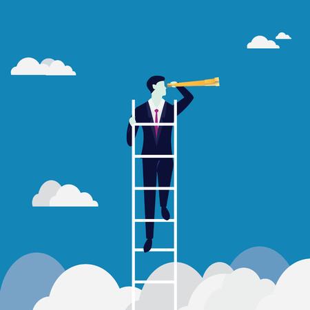 Koncepcja wizji biznesowej. Wspinaczka po drabinie szuka okazji