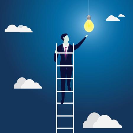 Business Idea Concept. Climbing Ladder Reaching Idea Bulb