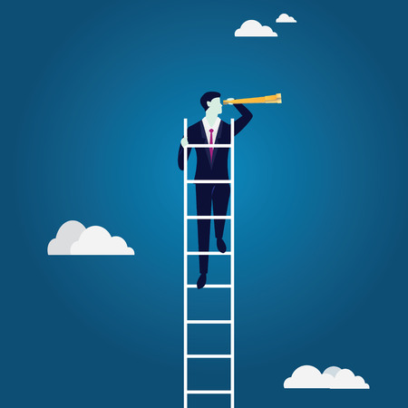 Business Vision Concept. Climbing Ladder Looking Opportunity