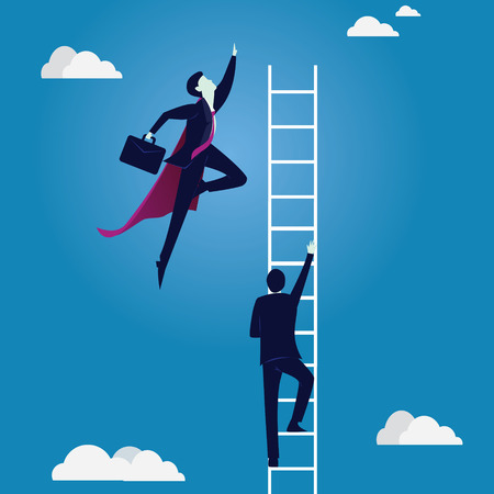 Business Competition Concept. Super Businessman Beat Normal Worker Vectores