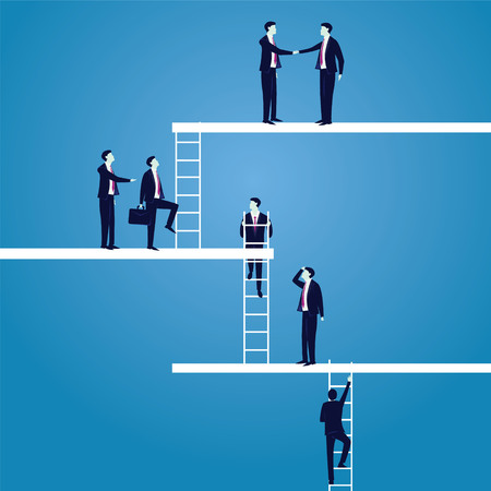 Business Career concept. Businessmen Lead to Climb High Ladder Illustration