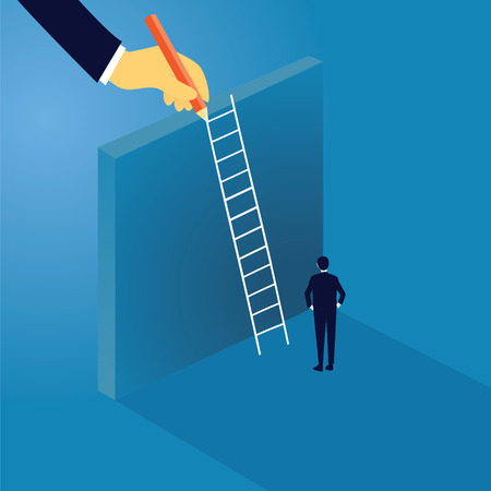 difficult decision: Business Challenge Concept. Businessman Climb Ladder on High Wall Illustration