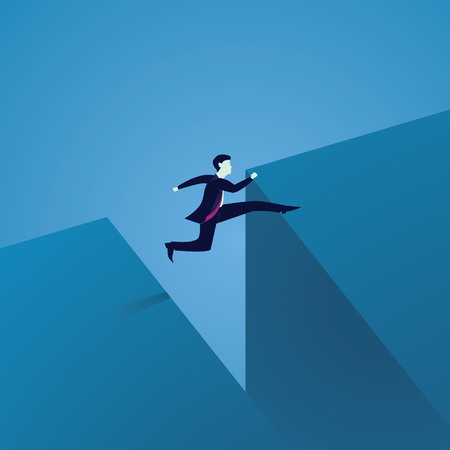 Business Challenge Concept. Businessman Jumping Over Gap