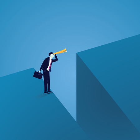 Business Vision Concept. Looking Far Away with Telescope Illustration