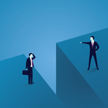 Business Communication Problem. Two Businessmen Separated by Large Gap