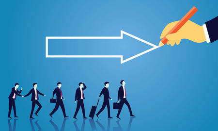 Vector illustration. Business directional leadership conceptual. Businessmen stepping forward looking for success in the way showed by giant hand of leader. Pointing direction arrow teamwork concept Ilustrace