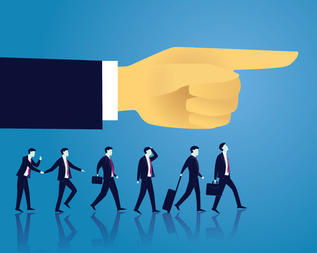 Vector illustration. Business directional leadership conceptual. Businessmen stepping forward looking for success in the way showed by giant hand of leader. Pointing direction teamwork concept