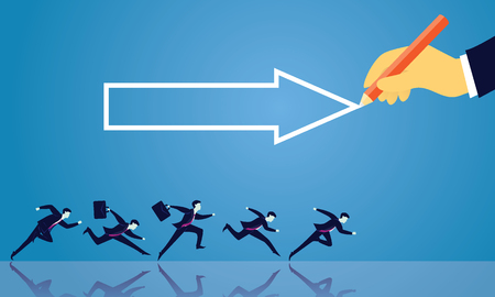 Vector illustration. Business directional leadership conceptual. Businessmen running forward looking for success in the way showed by giant hand of leader. Pointing direction arrow competition concept