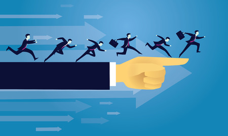 Vector illustration. Business directional leadership conceptual. Businessmen running forward looking for success in the way showed by giant hand of leader. Pointing direction competition concept