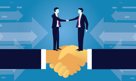 Vector illustration. Business teamwork deal agreement partnership concept. Businessmen shaking hands together