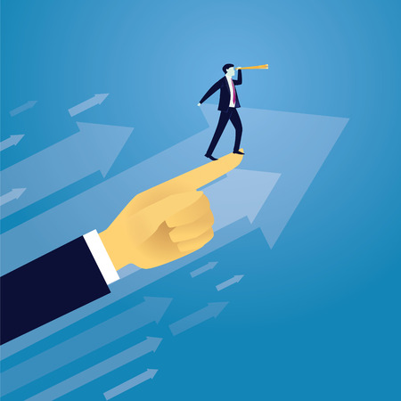 moving in: Vector illustration. Business success moving forward leadership concept. Businessman raised by giant hand to search for success high in the sky with telescope. Visionary, directing way of success, progress conceptual