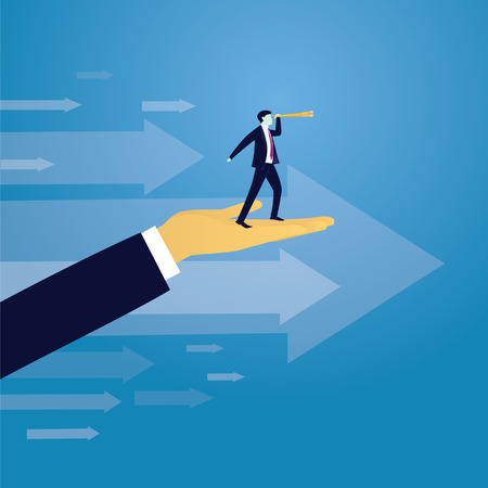 Vector illustration. Business success moving forward leadership concept. Businessman raised by giant hand to search for success high in the sky with telescope. Visionary, directing way of success, progress conceptual