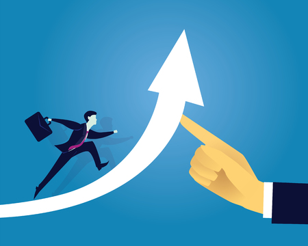 Vector illustration. Business success moving forward leadership concept. Businessman running on arrow of success raised by giant hand of leader. Directing way of success, progress conceptual