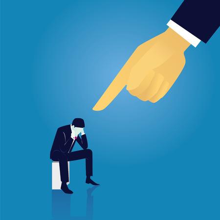 ベクトルの図。ビジネス障害罪の概念。実業家イライラ悲しい思考、彼の責任の巨大なリーダーのポインティング指ながら座って手彼の演出