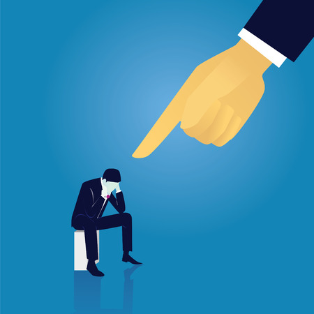 Vector illustration. Business failure guilty concept. Businessman frustrated sad down thinking of his fault, sitting while pointing finger of giant leader hand directing on him