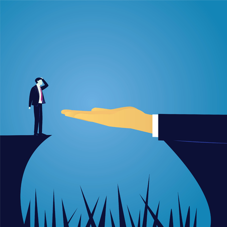 Vector illustration. Business challenge concept. Businessman in doubt thinking of risk to conquer obstacle challenge gap with help of giant leader hand Illustration