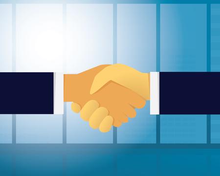 opportunity sign: Vector illustration. Business teamwork deal agreement partnership concept. Businessmen shaking hands together