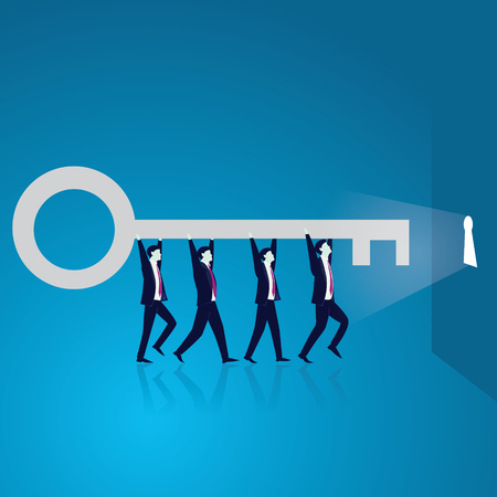 Vector illustration. Business teamwork key of success concept. Businessmen working in team. Group of people lifting key of success, stepping forward to open bright future keyhole together.