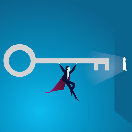 Vector illustration. Super strong power businessman lifting key of success concept. Superhero flying and holding key of success, moving forward to open bright future keyhole.