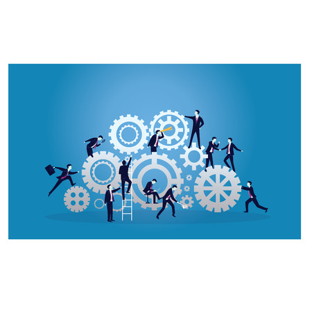 Vector illustration. Business teamwork concept. Businessmen working in team, Group of people work together to run business engine of success together.