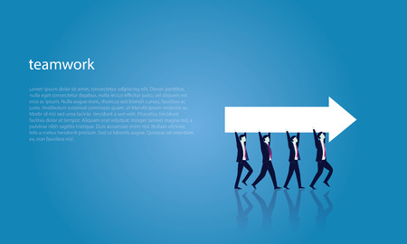 Vector illustration. Business teamwork directional concept. Businessmen working in team, Group of people moving forward and lifting arrow direction way of success together. Ilustrace