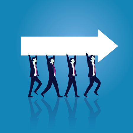 Vector illustration. Business teamwork directional concept. Businessmen working in team, Group of people moving forward and lifting arrow direction way of success together. Illustration