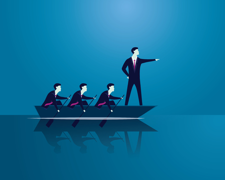 Vector illustration. Business teamwork leadership concept. Businessmen working in team, Group of people rowing boat together. Bossy leader pointing, directing and motivating his team to move forward for success