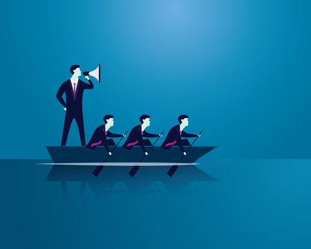 Vector illustration. Business teamwork leadership concept. Businessmen working in team, Group of people rowing boat together. Bossy leader using megaphone to shout and motivating his team to move forward for success Illustration