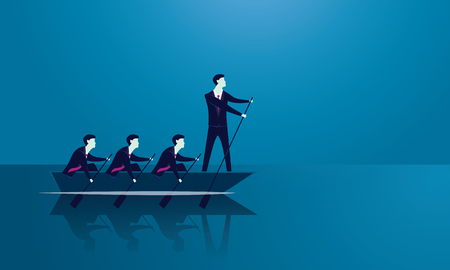 Vector illustration. Business teamwork leadership concept. Businessmen working in team, Group of people rowing boat together. Leader work with and motivating his team to move forward for success Vettoriali