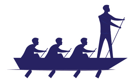 Vector silhouette illustration. Business teamwork leadership concept. Businessmen working in team, Group of people rowing boat together. Leader work with and motivating his team to move forward for success
