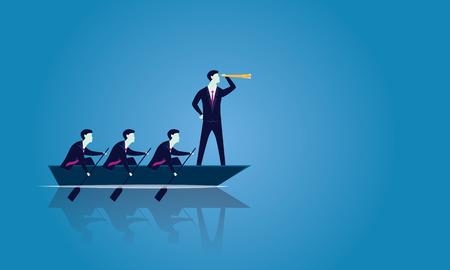 Vektorillustration. Business Teamwork Führungskonzept. Geschäftsleute, die im Team arbeiten, Gruppe von Leuten, die Boot zusammen rudern, vorwärts vorwärts. Führer auf der Suche nach Erfolg mit Teleskop, Visionär, motiviert sein Team
