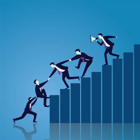 Vector illustration. Business teamwork leadership concept. Businessmen working together, helping each other to climb ladder of success. Leader motivating his team to work hard for top position Stock Vector - 83418556