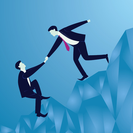 Vector illustration. Business teamwork concept. Businessmen working together, helping each other to climb mountain cliff of success. Team of people work hard to reach top position