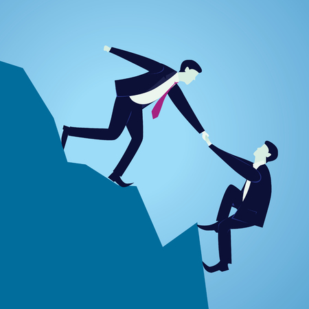 Vector illustration. Business teamwork concept. Businessmen working together, helping each other to climb mountain cliff of success. Team of people work hard to reach top position Stock Vector - 83418560